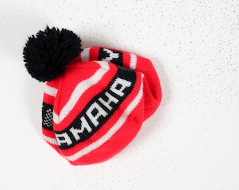 1980's Yamaha Red and Black Knit Slouchy Beret Winter Hat with Poof for Men or Women Size Medium