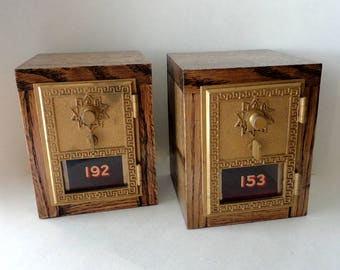 TWINS Matched Set of Oak Safes Brass USPS Door Grecian Post Office Box 5th 8th Anniversary Wooden Wedding Bride Groom His and Hers Groomsman