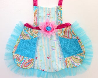 Birds in the Forest Apron, girls apron, toddler apron
