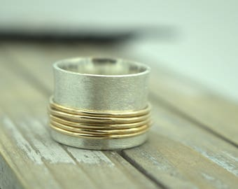 Sterling Silver Gold Filled Spinner Ring - Matte finish fiddle ring