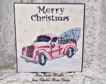 Merry Christmas Wall Sign, Hand Painted with Hand Routed Edge, Distress and Old Pickup Truck with Tree, ECS