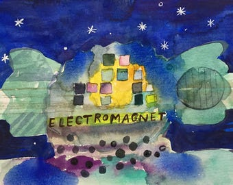 "Electromagnet Original watercolor 6""x8"" by Kelly Newcomer."