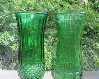 Large Vintage Green Glass Vase - Vintage/ Summer/ Holiday Wedding - Choice