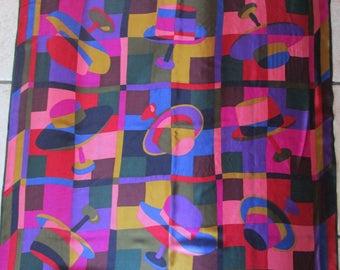 80s Perry Ellis Huge Silk Hat Print Scarf Jewel Tones Purple Pink Chartreuse