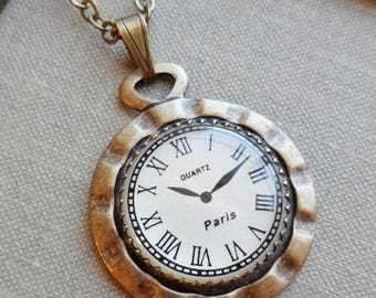 75% Necklace with Clock Cameo- Who Has The Time