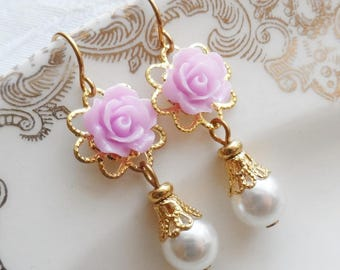 75% Off Price Sale, Light Purple Rose, Gold Tone Filigree, Faux Vintage Pearl Bead