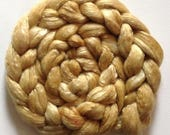 Roving for spinning hand dyed luxury silk blends semi solids  2ozs Mosaic G old pre order