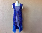 Peacock Long Vest Tunic One Size Fits Most Blue Purple Teal Garment Clothes Outfit Boho Jewel Tone Fringe Vest Sleeveless Dress