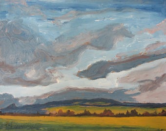 "Art Original Small Landscape Oil Painting Impressionist Sky Clouds Eastern Townships Quebec Canada By Fournier "" Up And Away "" 8 "" x 10 """