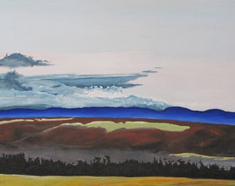 Art Large Landscape Oil Painting Sky Clouds Mountains Eastern Townships Quebec Canada By Fournier '' Blue Appalachian Ridge '' 24 x 36