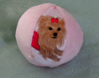 Yorkie Ball - Dog Ball - The Dream Ball - Dog Toy -  Minky Ball - Squeaker or Jingle Ball