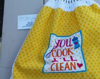 Crocheted Top Kitchen Towel - You Cook I'll Clean