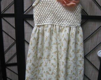 Knit Crochet Tank Dress, and Flower clip, Size 3
