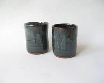 Small Pottery Tumblers Set of 2, Small Stoneware Tumblers, Ceramic Juice Glasses