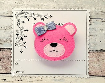 Hair Clips Pink Teddy bear hair clips or hair tie, handmade felt teddy bear barrette, pink bear, felt hair tie, Pink bear