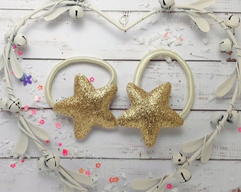 Felt and Glitter hair ties 1 pair of handmade padded gold stars, star bobbles, star pigtail holders