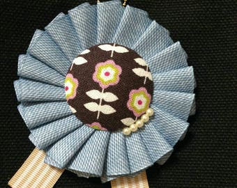 Denim printed ribbon and Japanese cotton rosette brooch , bag charm