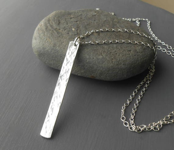 Long Sterling Silver Bar Necklace, Hammered Silver Bar Pendant, Necklace Chain