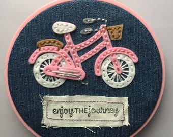 Enjoy The Journey - Pink Bike Hoop Art
