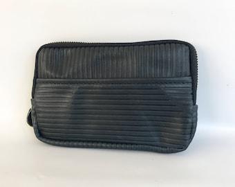 Leather wallet - stripe embossed navy cow hide