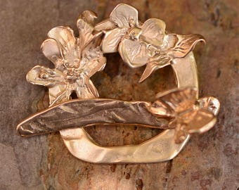 Dogwood and Butterfly Toggle in Gold Bronze, Artisan Flower Clasp