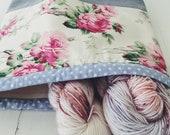 Old romantic rose project bag/ knitting project bag/ craft bag / multi-purpose bag