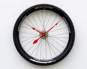 Bike Wheel Clock, Large Wall Clock, Cyclist Gift, Unique Wedding Gift, Steampunk Decor, Bicycle Wall Clock, mountain bike wheel tire clock