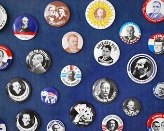 Presidential Campaign Buttons, 1972 Reproductions, Political Pinbacks, Framed Pin Back Collection, Borax Soap Premium, Pinback Replicas