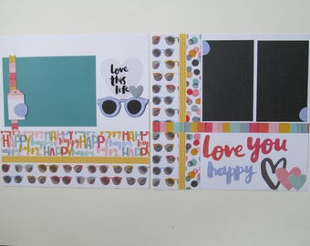 Love You Happy Premade or  DIY Kit,12x12 Scrapbook Layout,  Scrapbook Page Kit