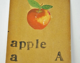 Vintage Teachers Hand Made Flash Cards   A   is for Apple    Letter A      Hand Made Flash Card