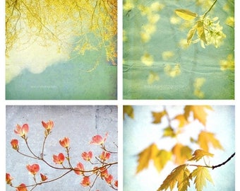 50% OFF SALE Teal Blue, Mustard Yellow, Trees, Cottage Chic, Home Decor, Shabby Chic, Fine Art Photography Set of 4 Photos, Leaves Print Pac