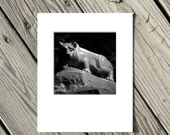 40% OFF SALE Black and White Photography, Penn State Lion Shrine Photo, Nittany Lions, PSU, Matted, 5x5 inch photo matted to 8x10 inches