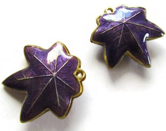 25mm Purple Cloisonne Leaf Beads Leaf Charms Cloisonne Plant Beads Cloisonne Charms Cloisonne Pendants Jewelry Making Beading Supplies