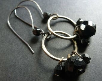 Hallowed ~ antique button and bead earrings ~ shabby aged black glass ~ sterling silver hooks ~ victorian gothic mourning OOAK