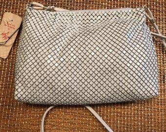 Vintage old new stock never used Whiting & Davis off white mesh shoulder handbag original tags