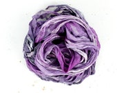 jello   .. hand dyed silk ribbon yarn, recycled silk fabric ribbon, soft knitting, weaving, crochet supply