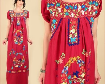 ViNtAgE 70s Floral Embroidered Mexican Maxi Dress // Burgundy Cotton // Puebla Style Artisan Handmade in Mexico Hippie BoHo Wedding Summer