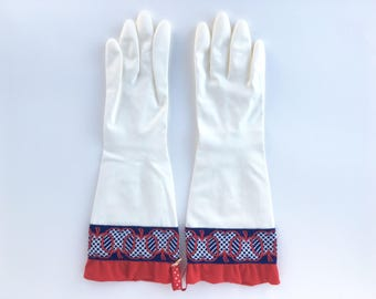 Designer Latex Free Cleaning Gloves. Size Medium. Red Apples. Dishwashing Kitchen Gloves.