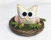 Owl Nest, Summer Decoration, Mantle Decoration, Wedding Table Centerpiece, Woodland Decoration, Baby Owl, Shabby Chic Decoration