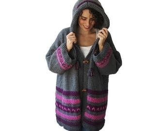 20% WINTER SALE Chunky Hand Knitted Cardigan Coat Outwear by Afra