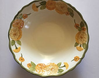 Vegetable Serving Bowl Sculptured Zinnia PoppyTrail by Metlox Replacement Dinner Plate 1960's Orange and Yellow Floral