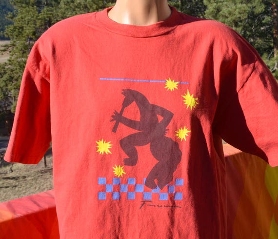 vintage 90s tee SANTA FE new mexico coyote cafe native howl t-shirt XL Large