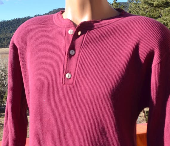 vintage 80s shirt THERMAL river drivers henley red waffle undershirt long johns Medium maroon preppy