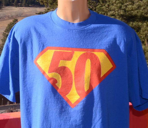 vintage 80s t-shirt 50th birthday fifty SUPERMAN tee XL Large superhero gift