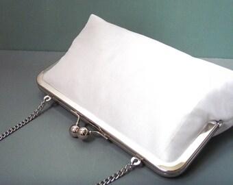 White clutch purse, silk bag with chain handle, wedding bridal clutch, bridesmaid gift