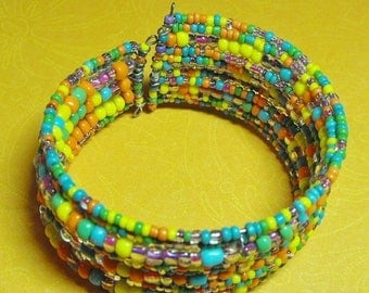 Memorial Day Sale Malibu. Handmade Multiple Layer Bright Multiple Color Beaded Cuff bracelet