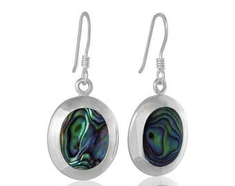 Sterling Silver Abalone Paua Shell Oval Drop Earrings