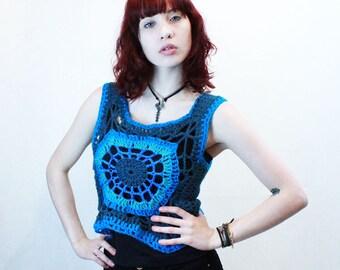 Boho crochet coachella vegan cover up lace mandala crop top turquoise aqua teal blue