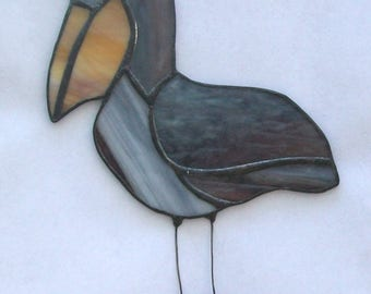 Pelican stained glass suncatcher pelican on post