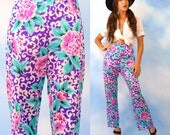 Vintage 60s 70s Vanity Fair High Waisted Rose Print Lounging Trousers (size small, medium)